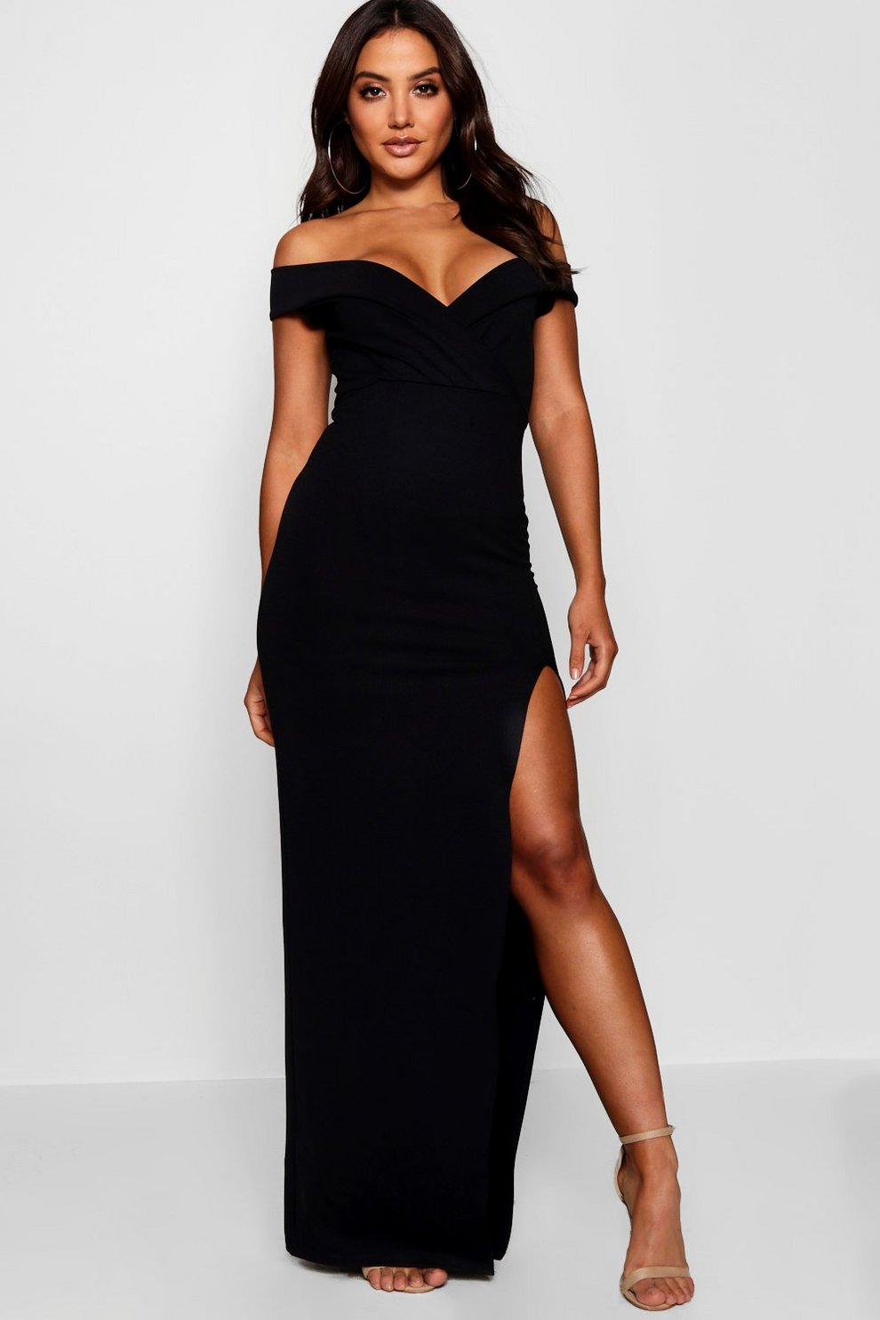 bb218953752 Womens Black Wrap Top Off Shoulder Maxi Dress. Hover to zoom