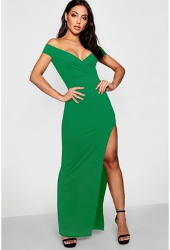 Emerald Wrap Top Off Shoulder Maxi Dress