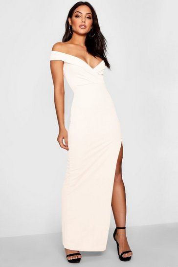 Ivory Wrap Off The Shoulder Maxi Bridesmaid Dress