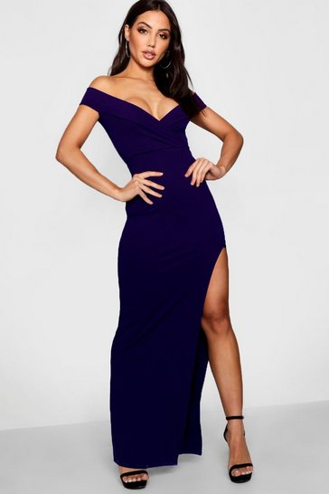 Navy Wrap Off The Shoulder Maxi Bridesmaid Dress