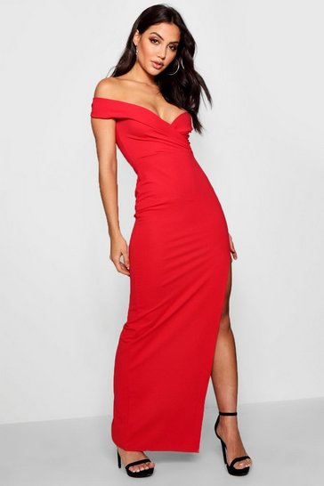 Red Wrap Off The Shoulder Maxi Bridesmaid Dress