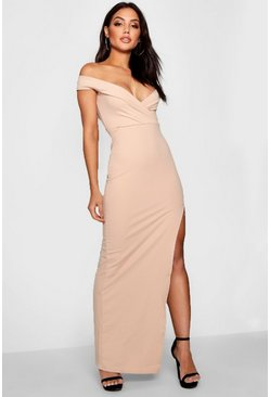 Stone Wrap Off The Shoulder Maxi Bridesmaid Dress
