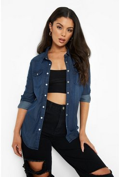 Womens Indigo Supersoft Denim Shirt