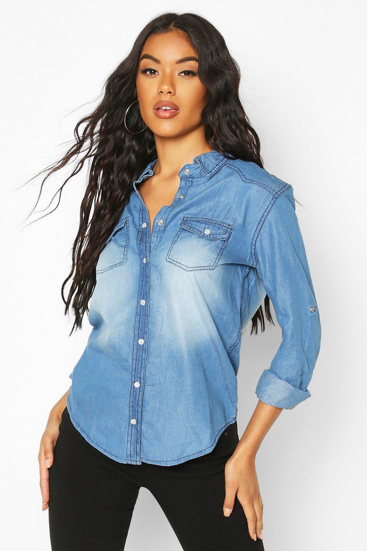Azul denim medio Camisa super suave P74XxXHqw