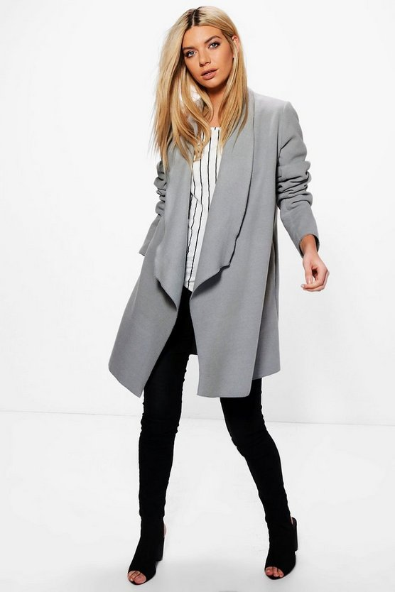 Womens Grey Waterfall Wool Look Duster