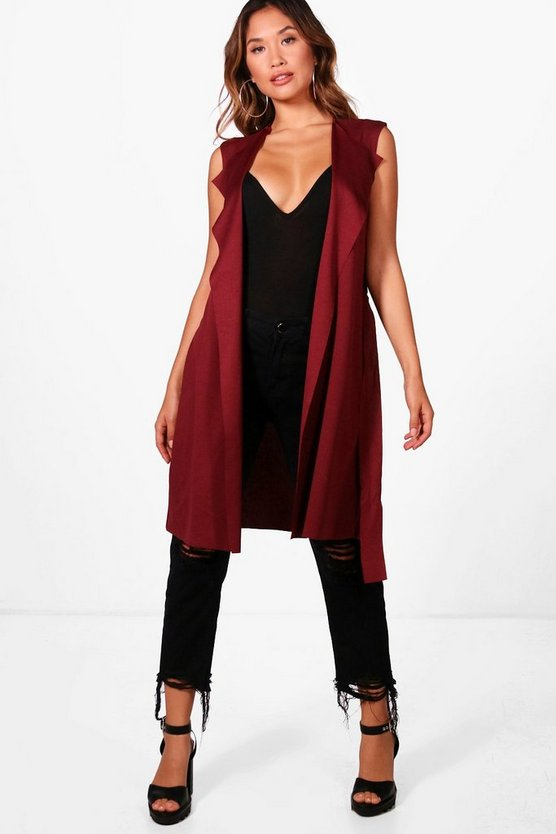 Womens Damson Sleeveless Belted Duster