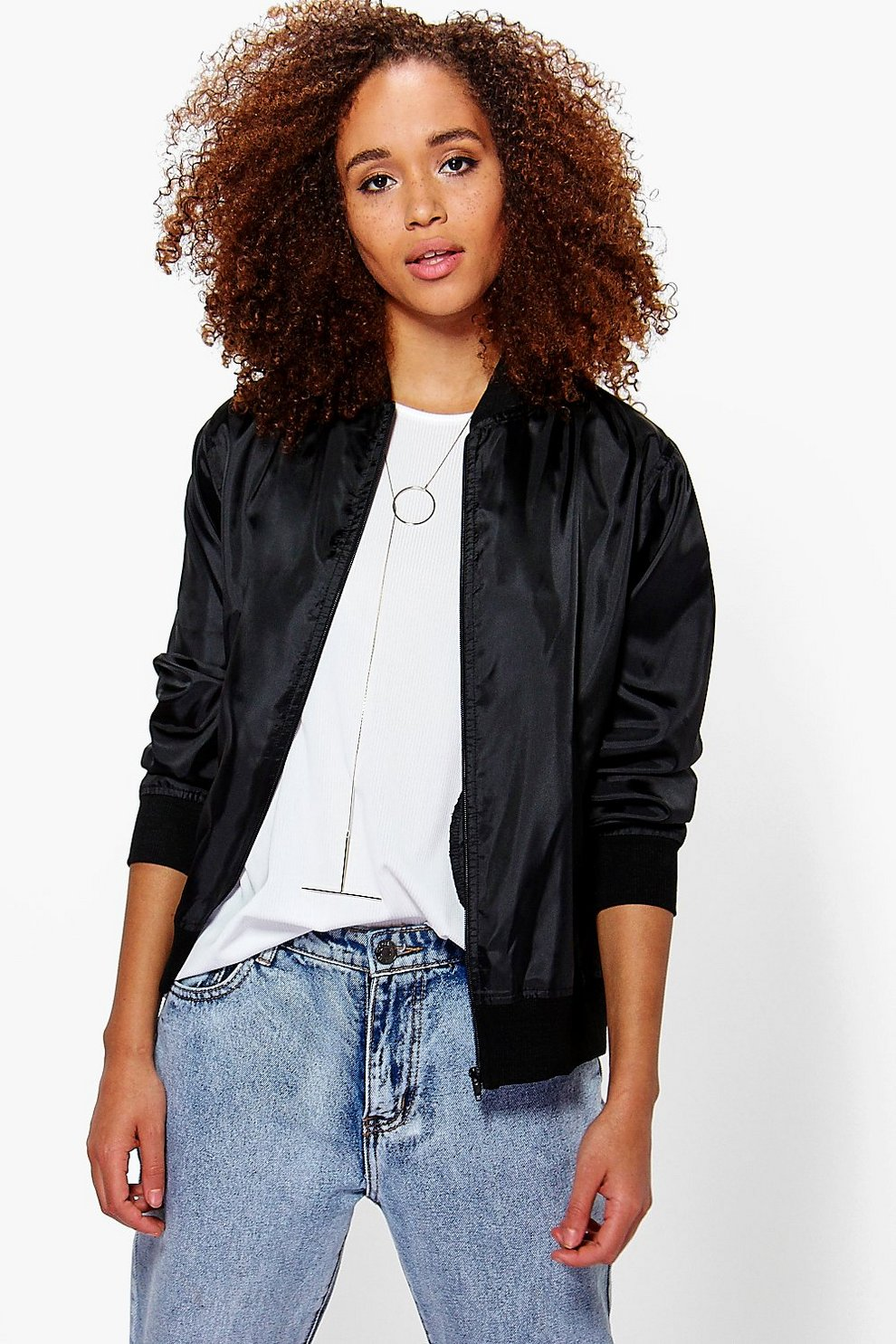 c82838a093069 Womens Black Basic Bomber Jacket