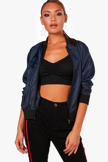 Womens Navy Basic Bomber Jacket