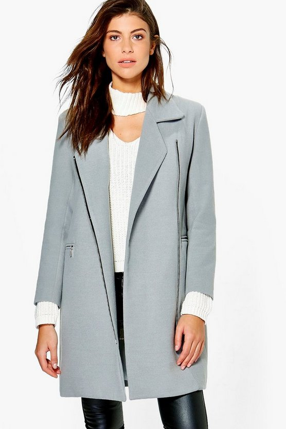 Zip Up Wool Look Coat