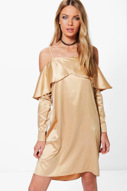 Satin Open Shoulder Frill Shift Dress  gold
