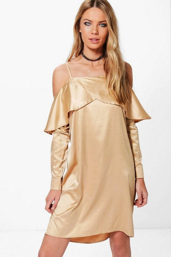 Satin Open Shoulder Frill Shift Dress