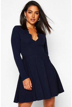 Womens Navy Long Sleeved Scallop Plunge Skater Dress