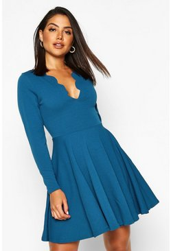 Womens Teal Long Sleeved Scallop Plunge Skater Dress