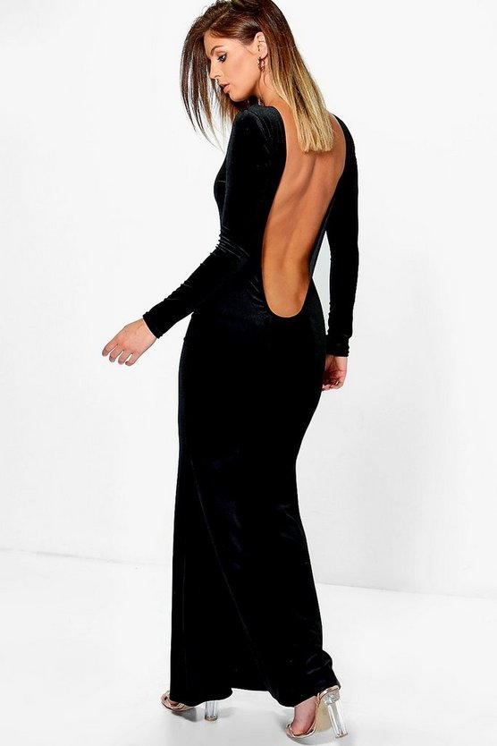 Velvet Low Back Fish Tail Maxi Dress