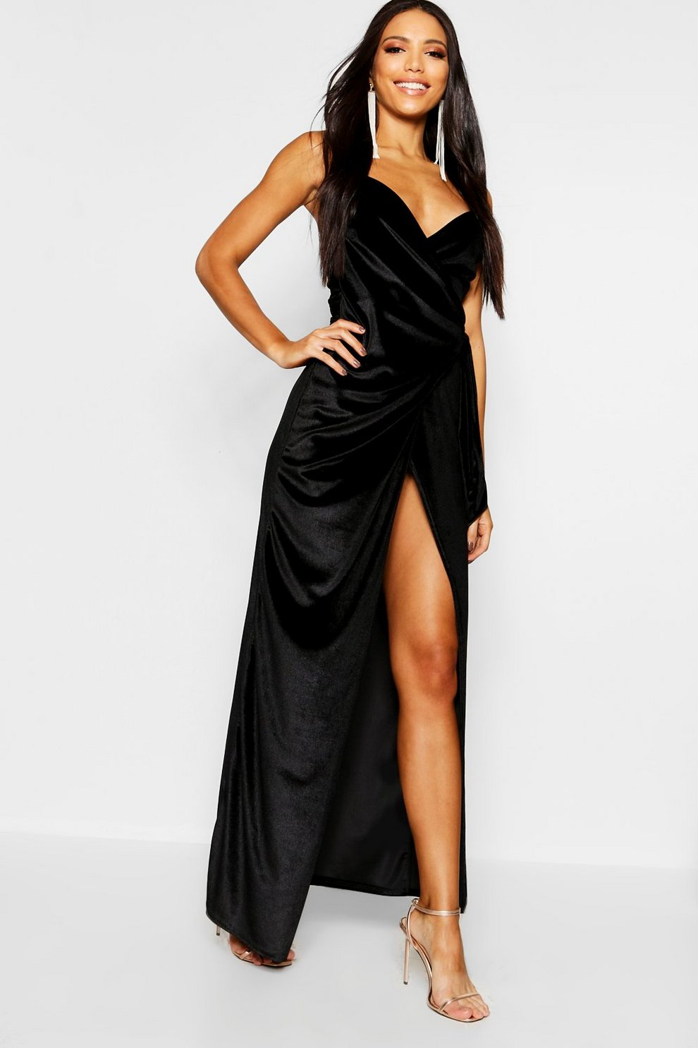 3041d9ea78b0 Womens Black Velvet Wrap & Tie Detail Maxi Dress