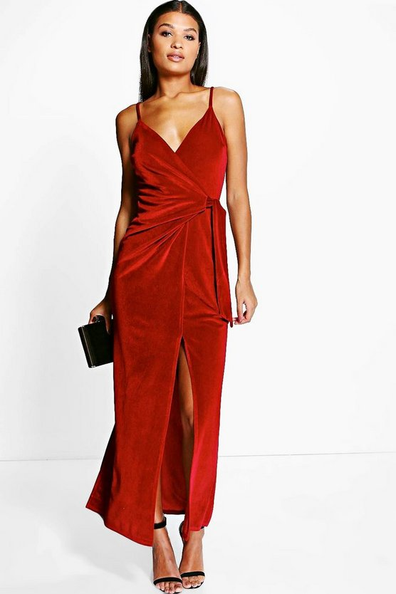 Velvet Wrap & Tie Detail Maxi Dress