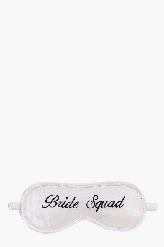 Bride Squad Embroidered Satin Eye Mask