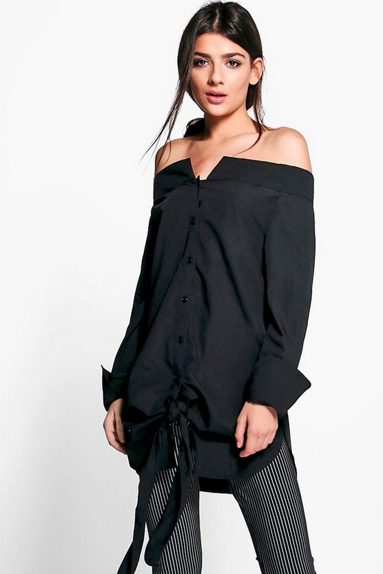 Grace Off The Shoulder Collar Shirt