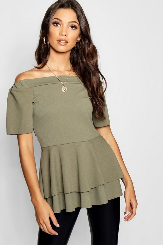 Bardot Double Layer Peplum Top