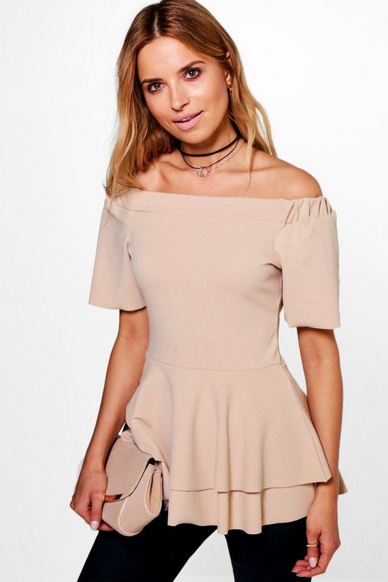 Womens Stone Bardot Double Layer Peplum Top