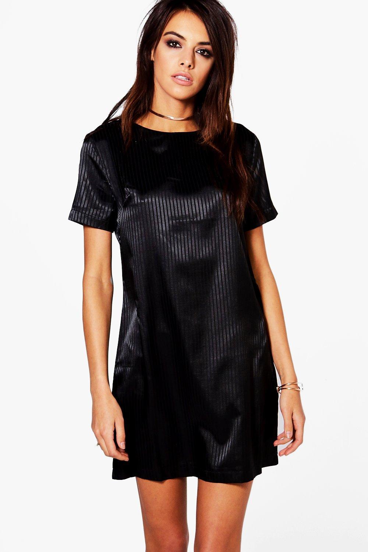 Fine Stripe Satin Shift Dress  black