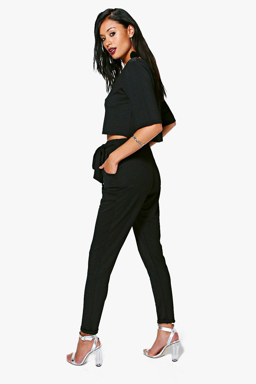 Conjunto pantalones cintura nudo de plateado top y en con RvnWzqRpH