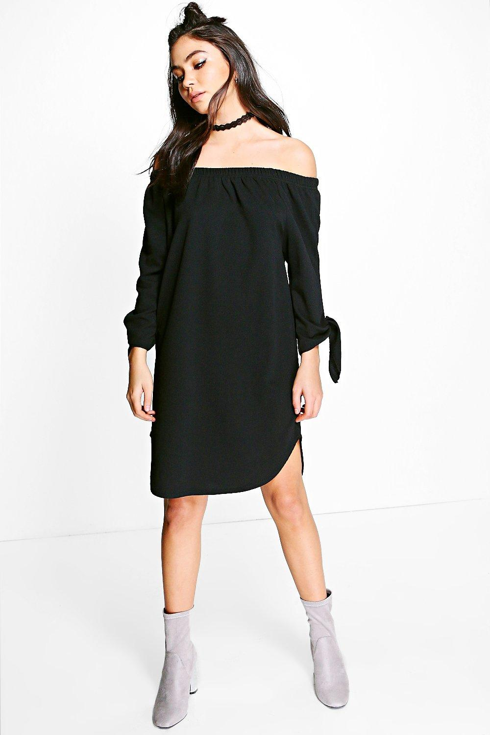 0247bcd404e Milly Off Shoulder Curved Hem Tie Shirt Dress. Hover to zoom