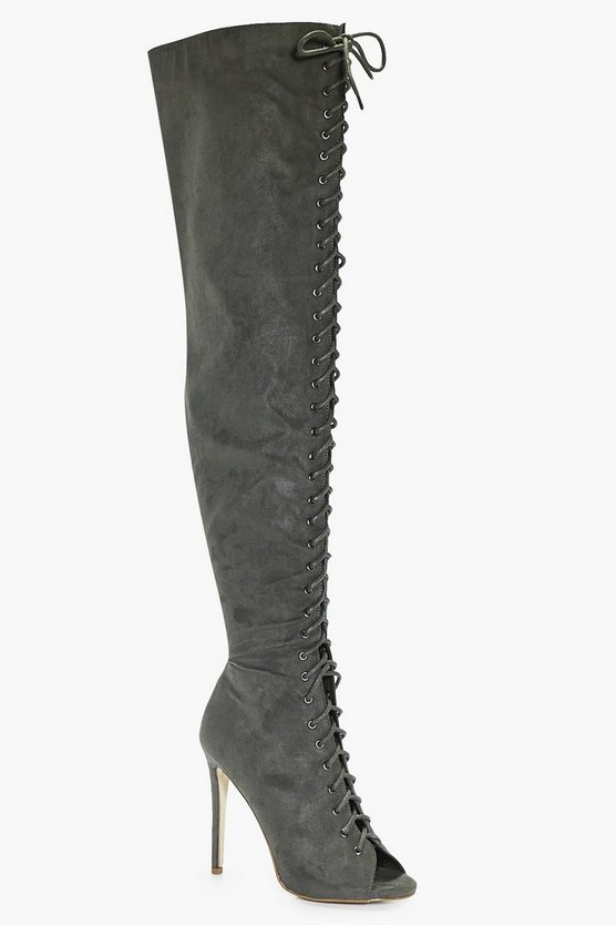 Womens Khaki Amber Lace Up Thigh High Boot