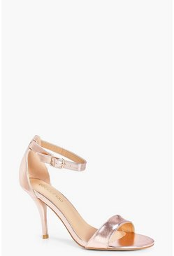 Womens Rose gold Extra Wide Fit Low Heel Two Parts