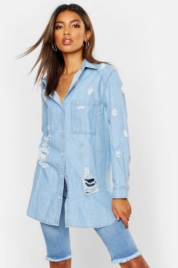 Womens Blue Oversized Ultra Distressed Denim Shirt