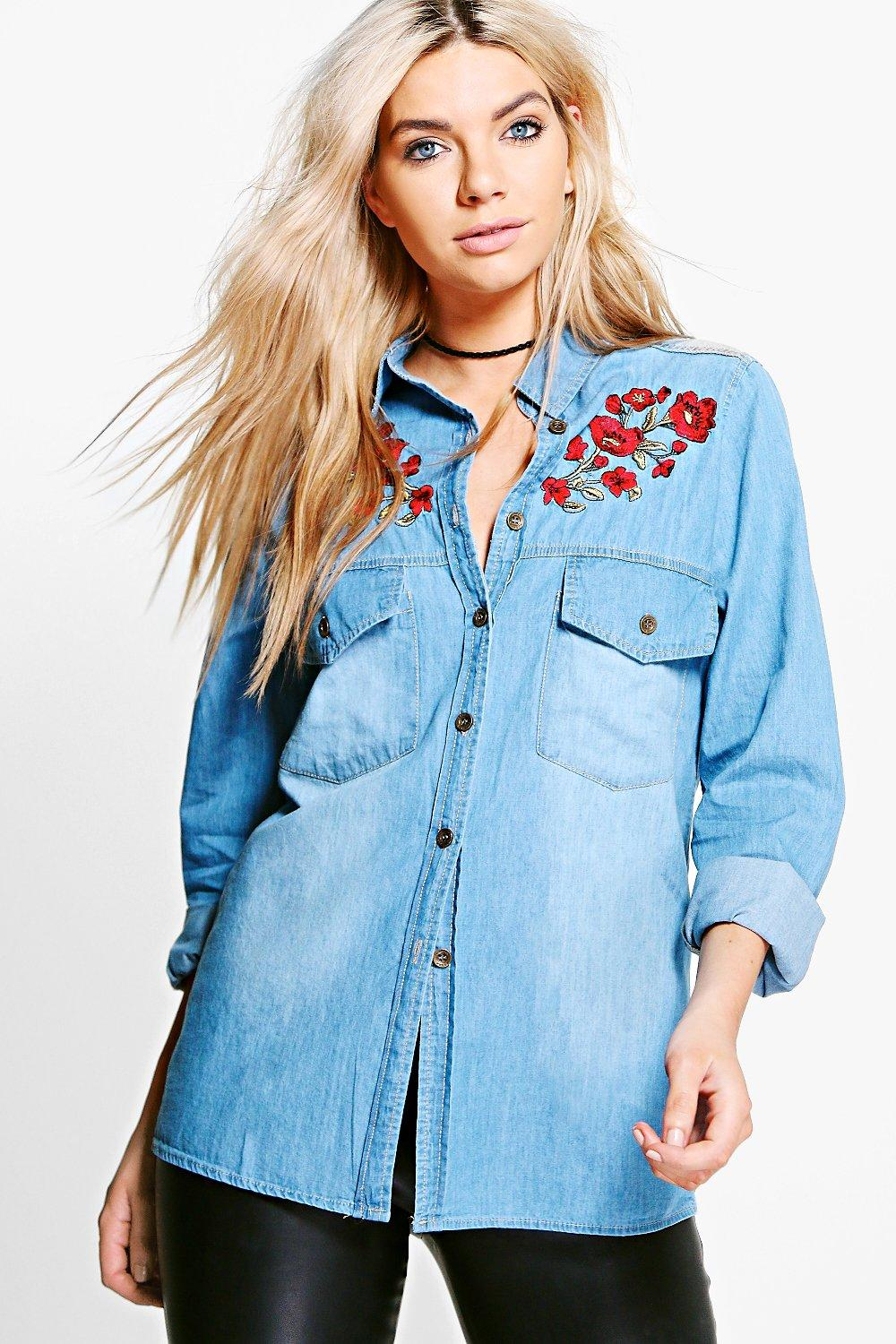 1e9aa540a5 Alyson Floral Embroidered Denim Shirt. Hover to zoom