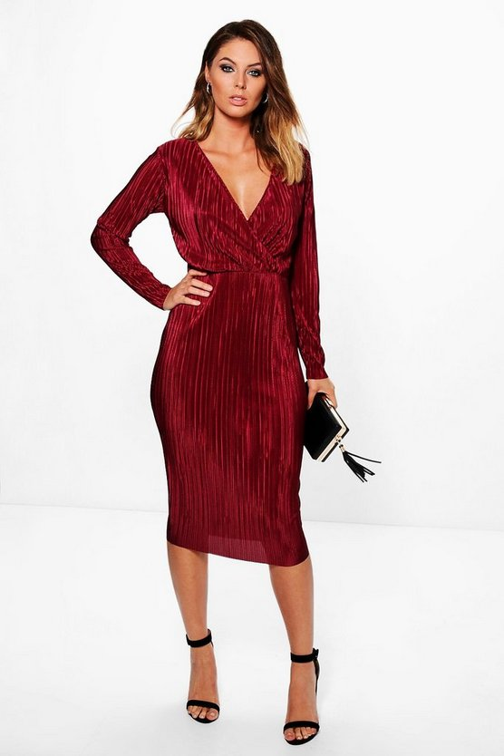 Millicent Wrap Top Pleated Midi Dress