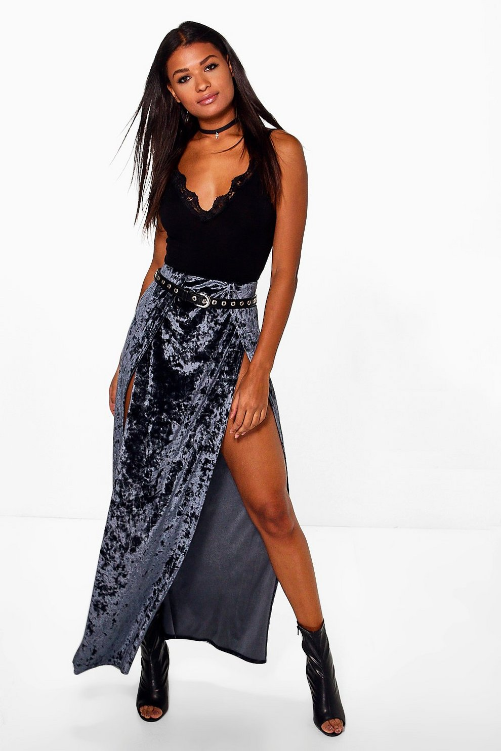 723ac8031 Naomi Crushed Velvet Thigh Split Maxi Skirt | Boohoo