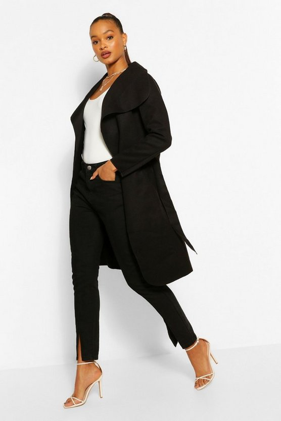 Womens Black Belted Shawl Collar Coat