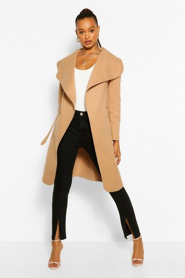 Camel Belted Shawl Collar Coat