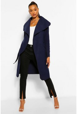 Womens Navy Belted Shawl Collar Coat