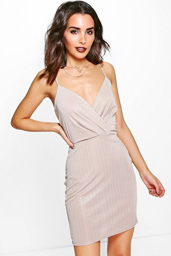 Amelie Metallic Drape Wrap Bodycon Dress