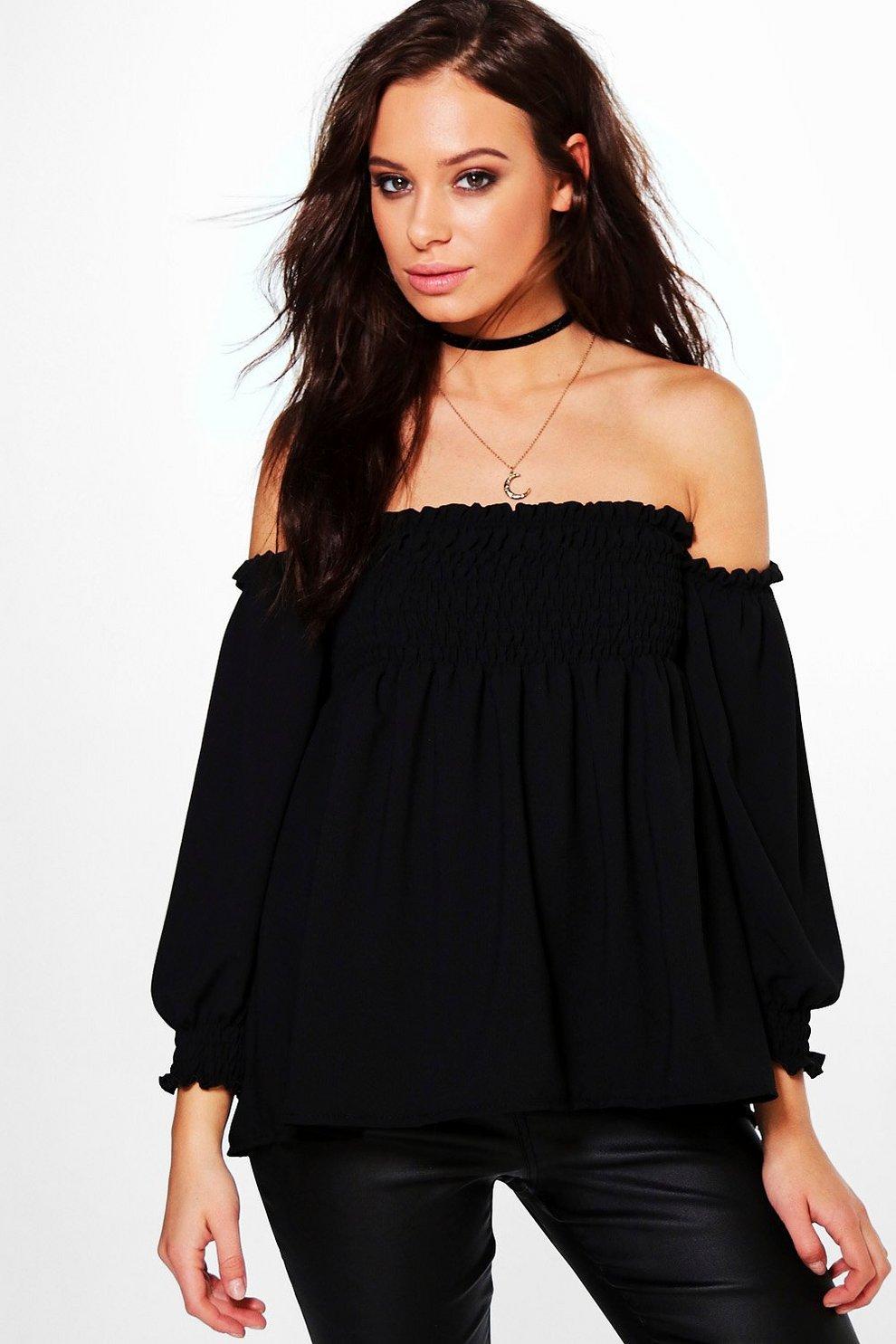 4b5eaa3796480e Hattie Shirred Bardot Woven Long Sleeve Top | Boohoo