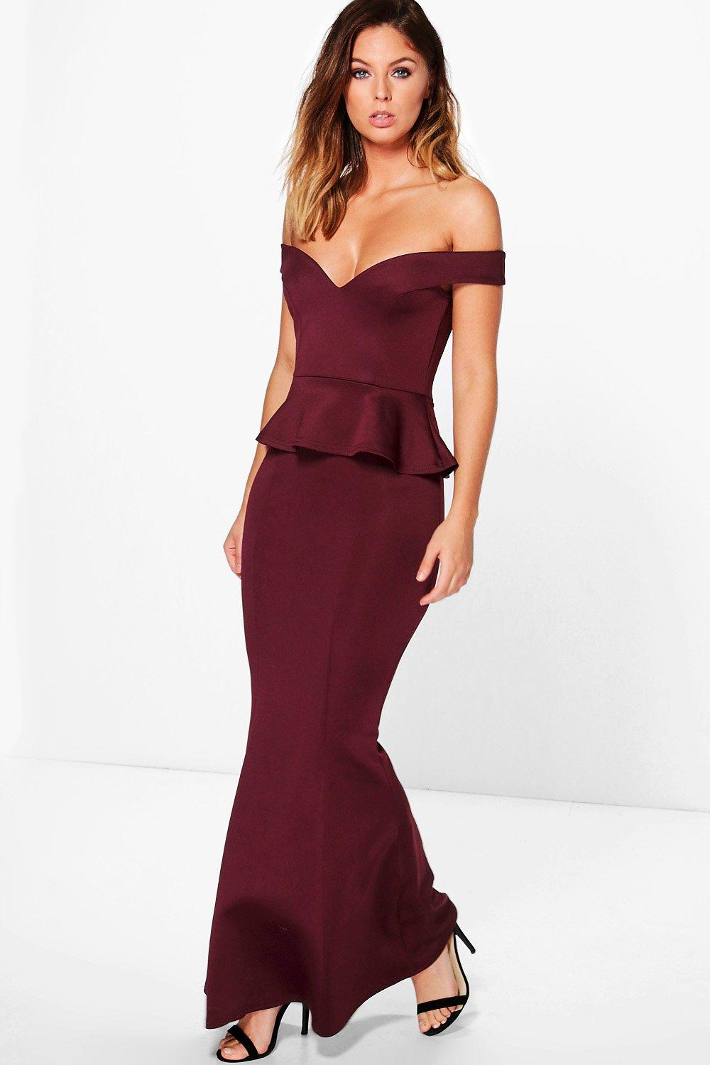 5b229903bf Womens Berry Harley Off Shoulder Fishtail Peplum Maxi Dress. Hover to zoom