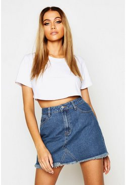 Womens Mid blue High Waisted Micro Denim Mini Skirt