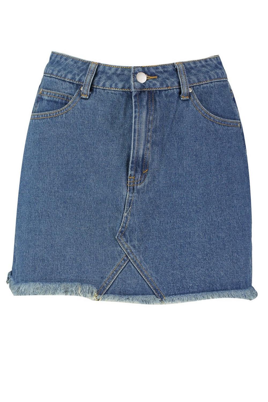 micro medio cintura denim alta Azul Minifalda con g548Y6q