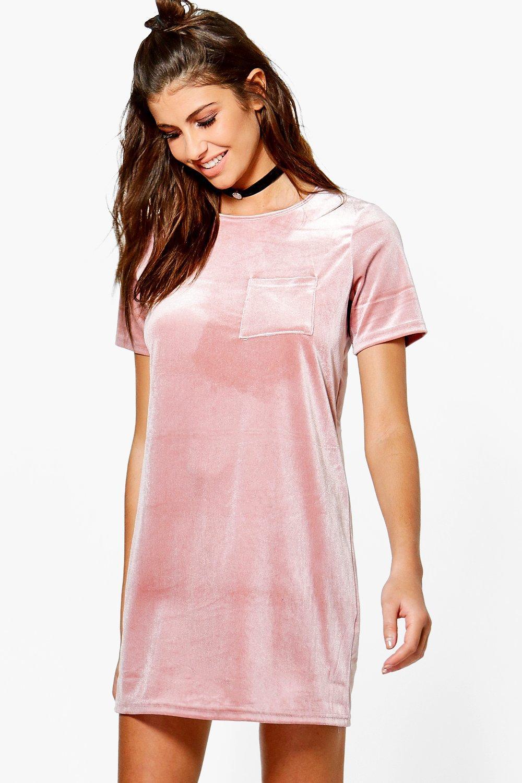 92556906022 Emilia Velvet T-Shirt Dress. Hover to zoom
