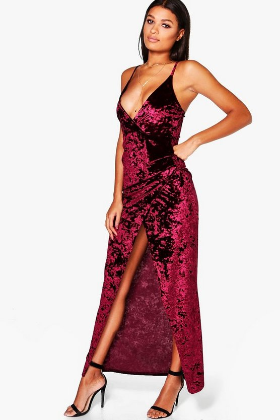 Crushed Velvet Wrap Maxi Dress