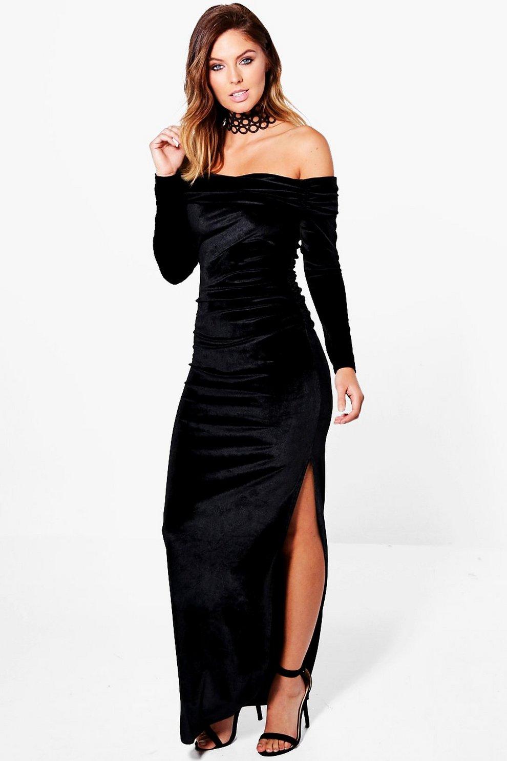 c3822b8b870 Womens Black Josephine Off Shoulder Velvet Maxi Dress