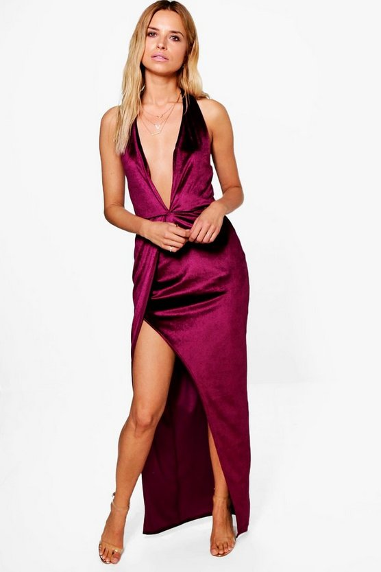 Alia Velvet Plunge Side Split Maxi Dress