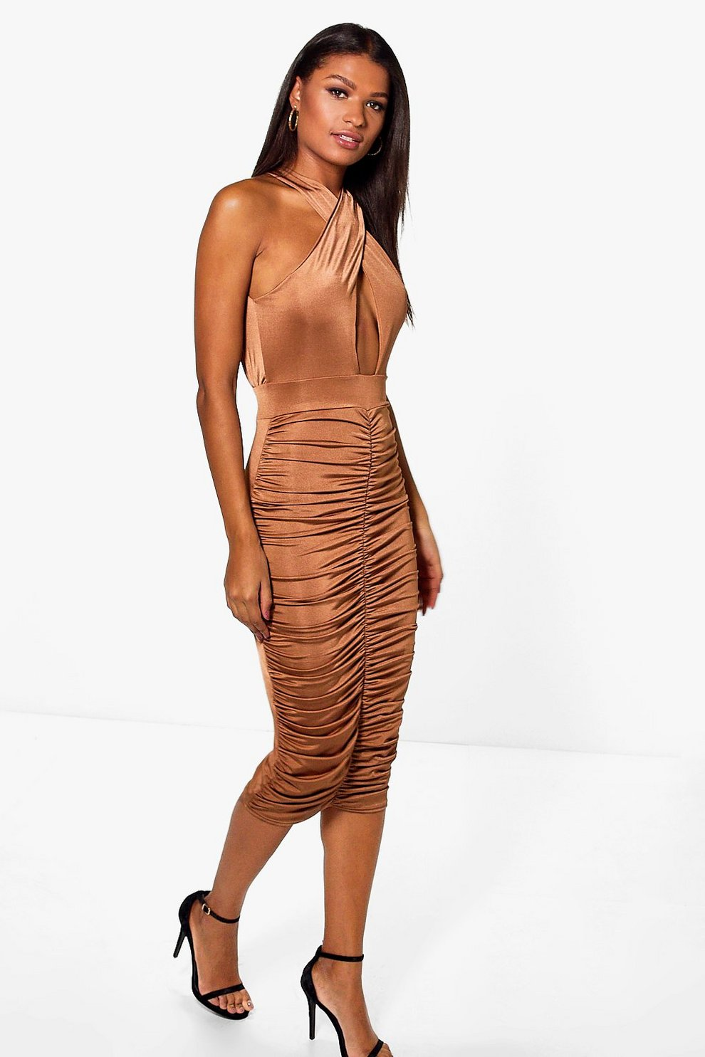 9fd7e783b98a Elizabeth Slinky Wrap Rouched Midi Dress | Boohoo