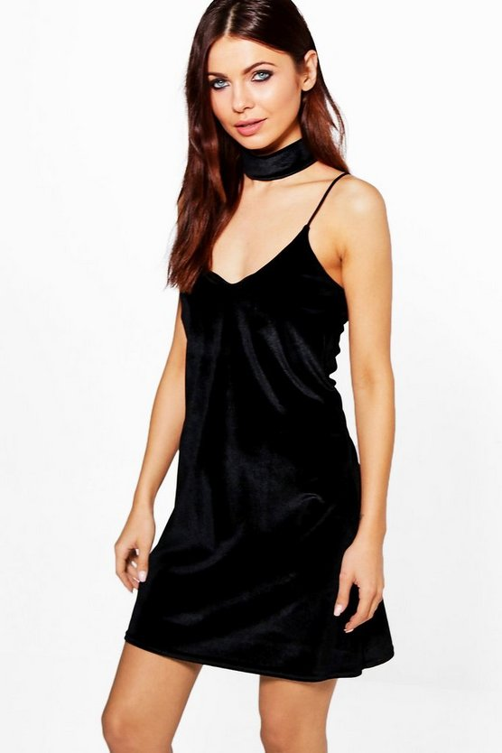 Womens Black Rosine Velvet Strappy Choker Slip Dress