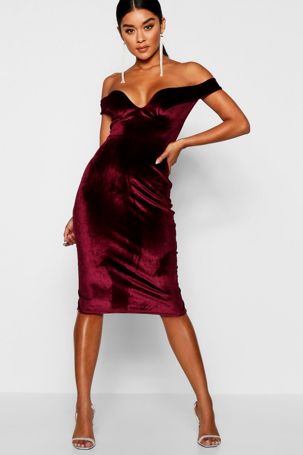 471b2909f292 Velvet Off Shoulder Bodycon Dress | Boohoo