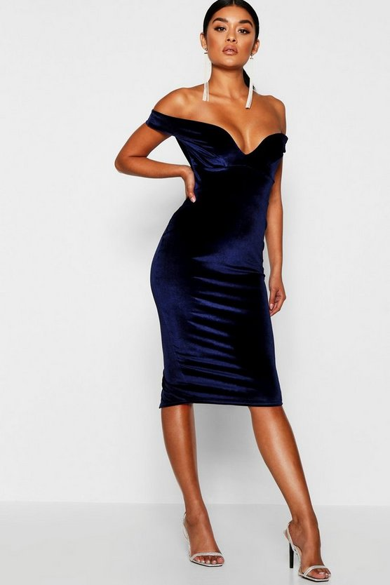 Womens Velvet Off Shoulder Bodycon Dress