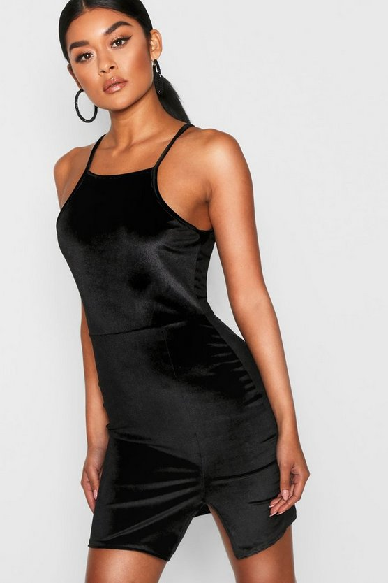 Womens Black Harmony Velvet Strappy Bodycon Dress